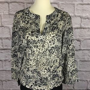 Theory size S Cotton tunic top black and white